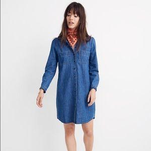 Madewell Denim Long Puff Sleeve Shirtdress Med